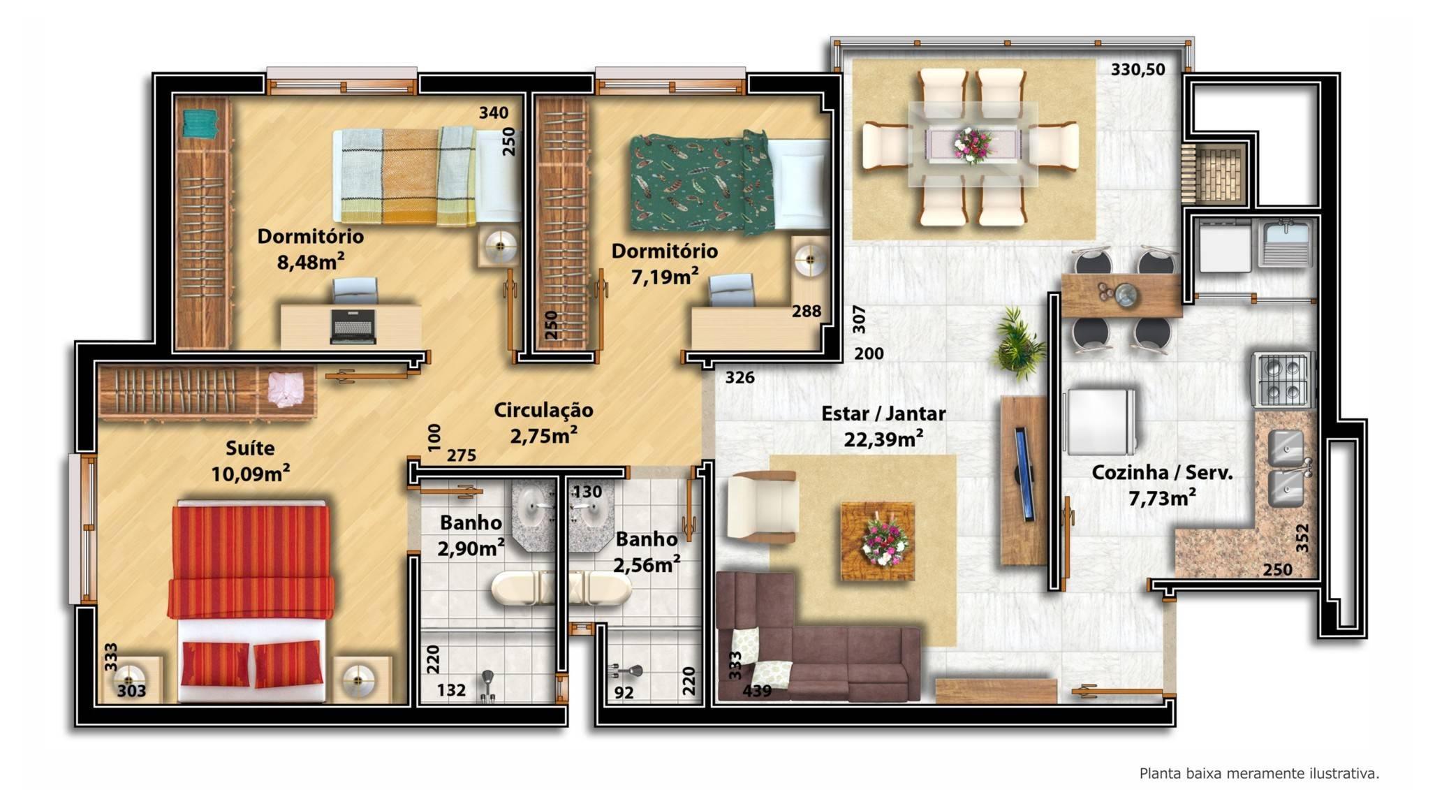 Saiba qual o tamanho ideal para os cômodos de uma casa #A73424 2055 1131